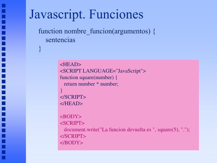 Javascript. Funciones