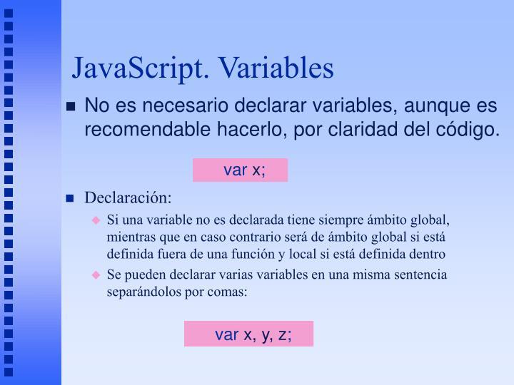 JavaScript. Variables