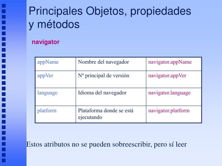Principales Objetos, propiedades