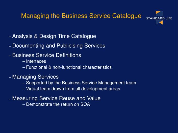 Managing the Business Service Catalogue