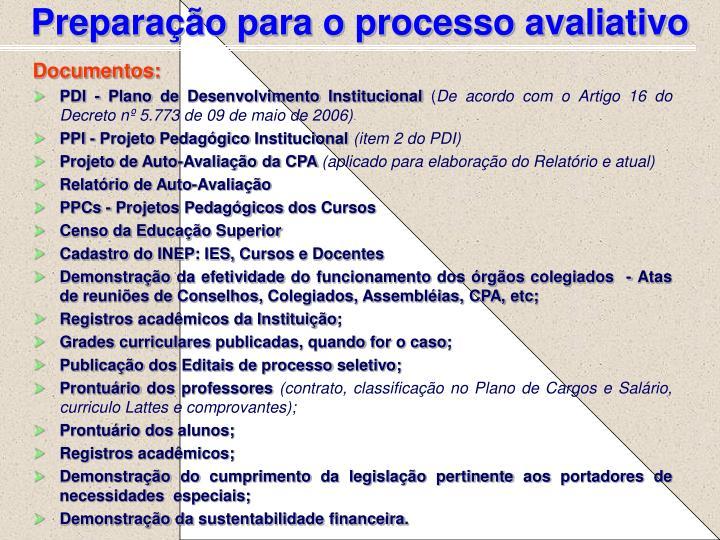 Preparação para o processo avaliativo
