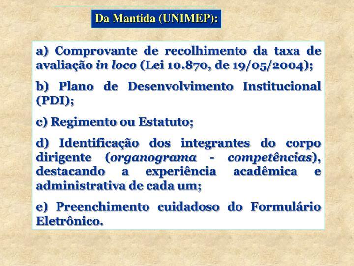 Da Mantida (UNIMEP):