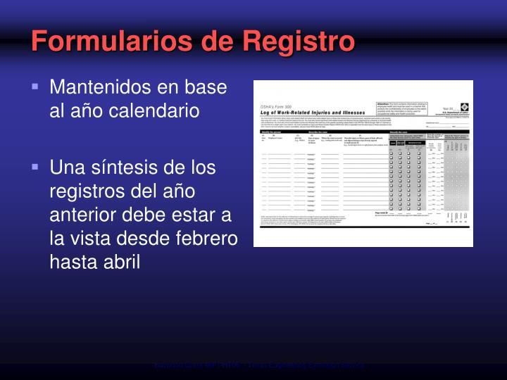 Formularios de Registro