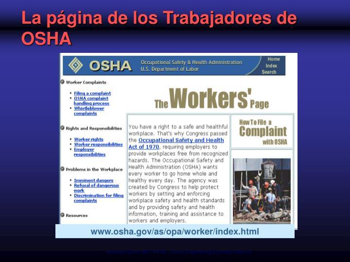 La página de los Trabajadores de OSHA