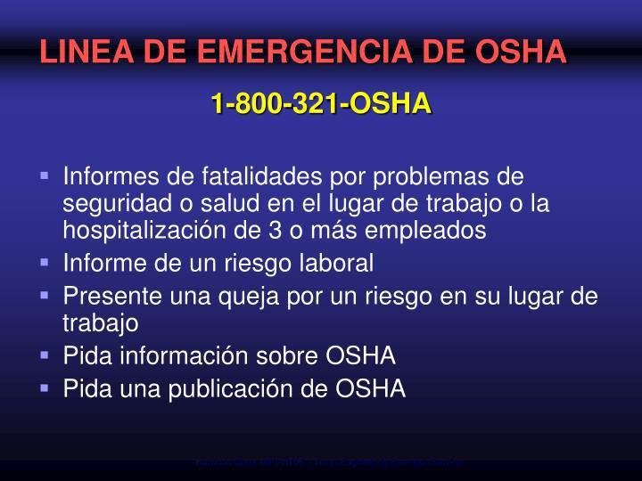 LINEA DE EMERGENCIA DE OSHA