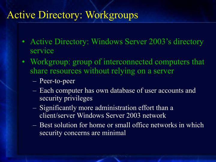 Active Directory: Workgroups