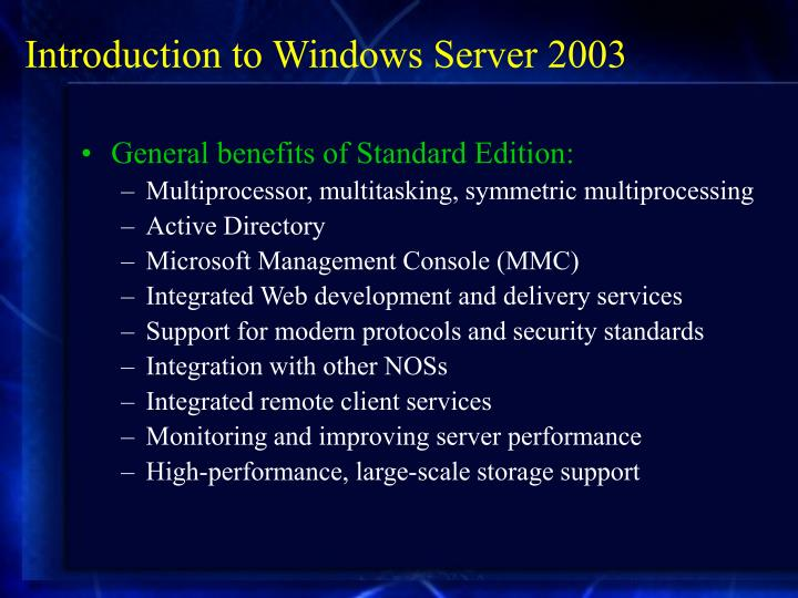 Introduction to Windows Server 2003