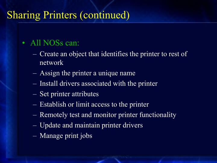 Sharing Printers (continued)