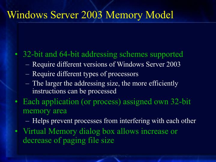 Windows Server 2003 Memory Model