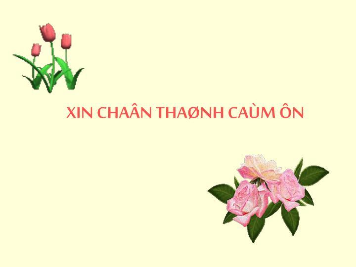 XIN CHAÂN THAØNH CAÙM ÔN