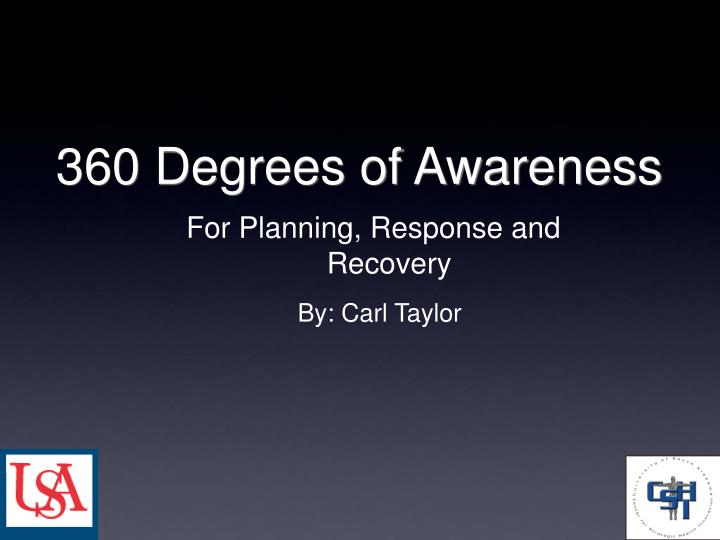 For Planning, Response and Recovery