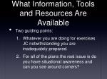 what information tools and resources are available