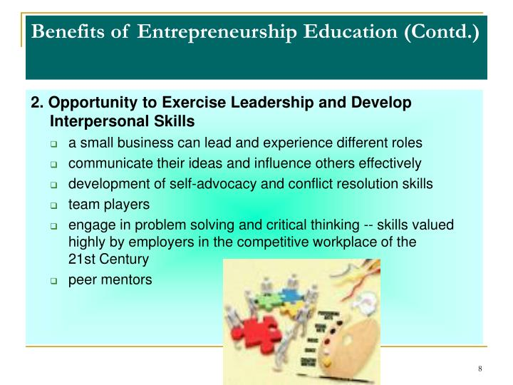 Benefits of Entrepreneurship Education (Contd.)