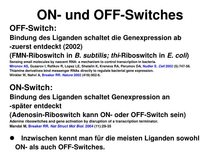 ON- und OFF-Switches