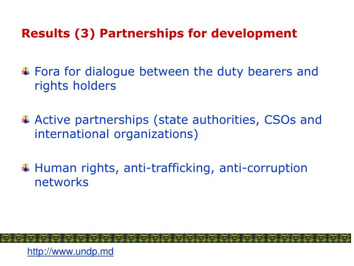 Results 3 partnerships for development