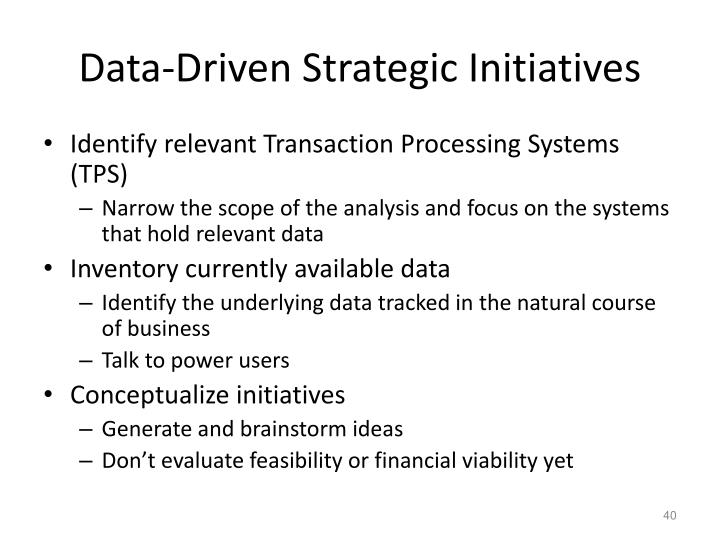Data-Driven Strategic Initiatives