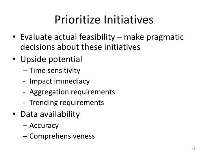 Prioritize Initiatives
