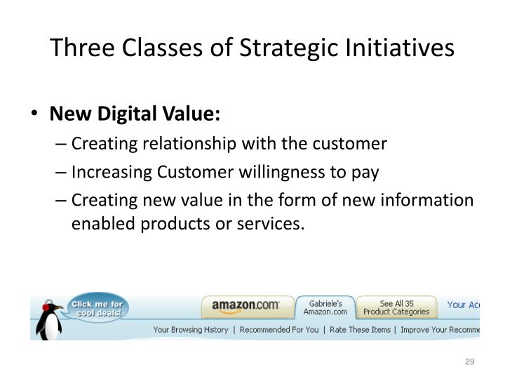 Three Classes of Strategic Initiatives