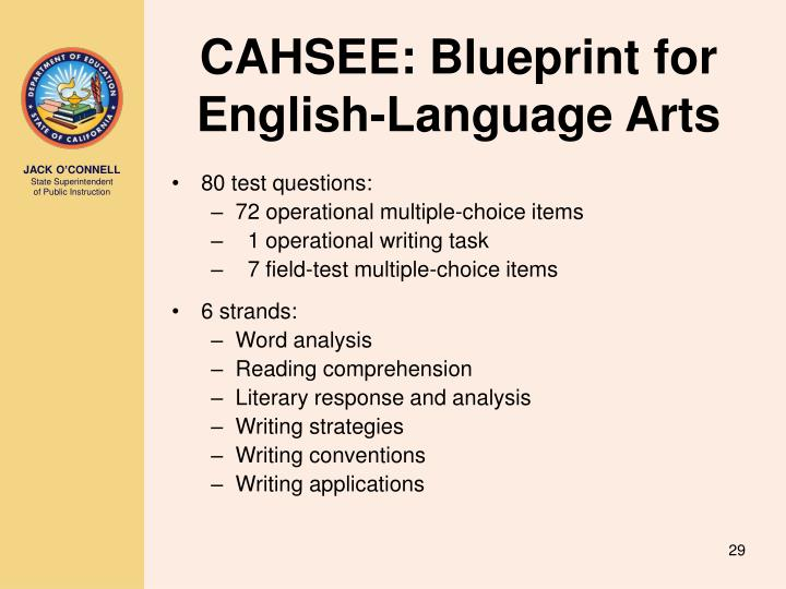 CAHSEE: Blueprint for English-Language Arts