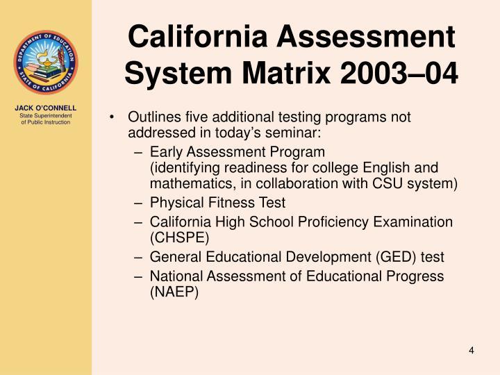 California Assessment System Matrix 2003–04