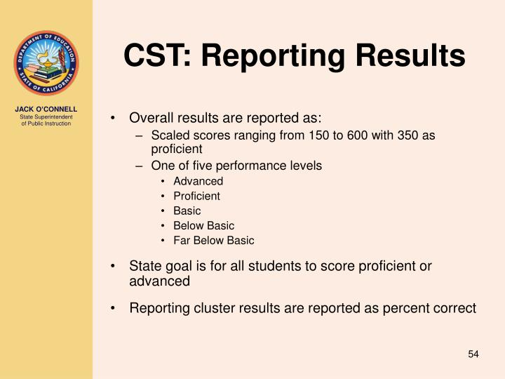 CST: Reporting Results