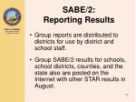 sabe 2 reporting results3