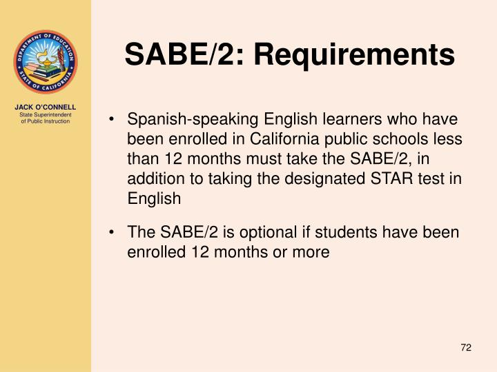 SABE/2: Requirements