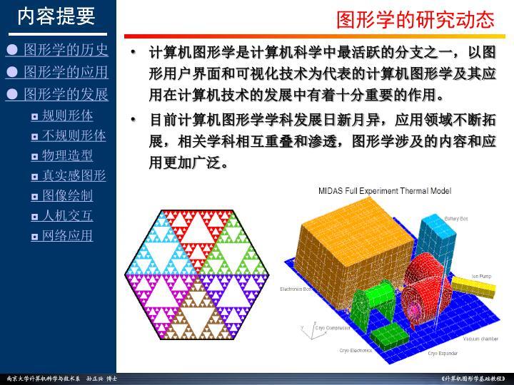 计算机图形学是计算机科学中最活跃的分支之一,以图形用户界面和可视化技术为代表的计算机图形学及其应用在计算机技术的发展中有着十分重要的作用。