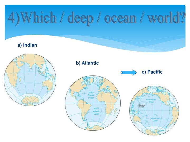 4)Which / deep / ocean / world?
