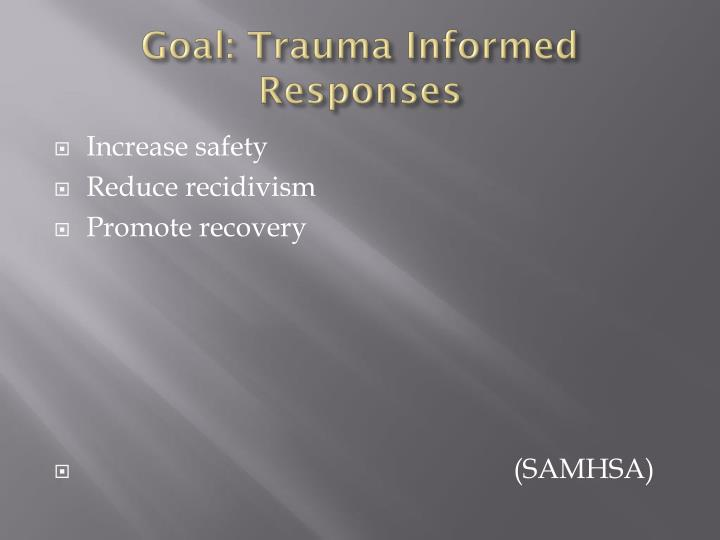 Goal: Trauma Informed Responses