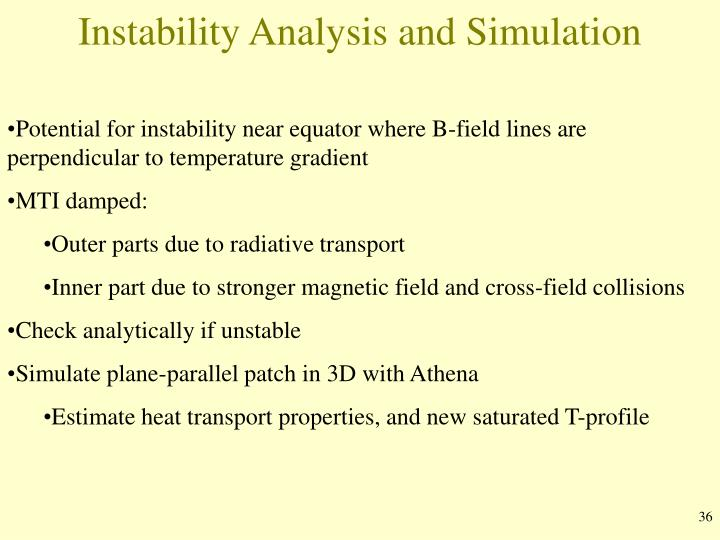 Instability Analysis and Simulation