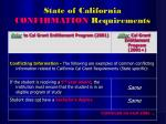 state of california confirmation requirements