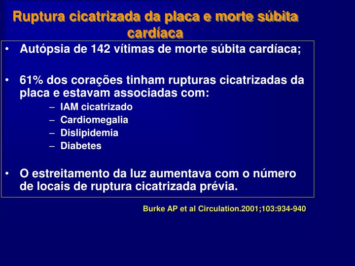 Ruptura cicatrizada da placa e morte súbita cardíaca