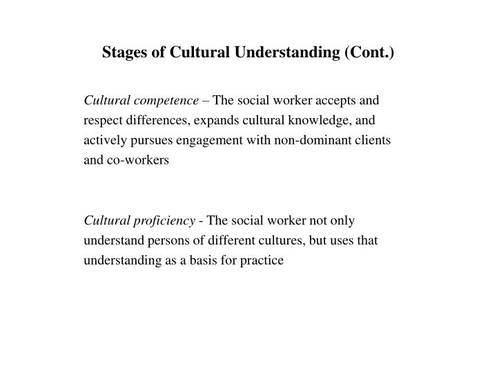 Stages of Cultural Understanding (Cont.)