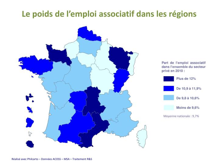 Le poids de l'emploi associatif dans les régions
