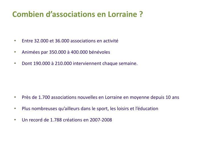 Combien d'associations en Lorraine ?