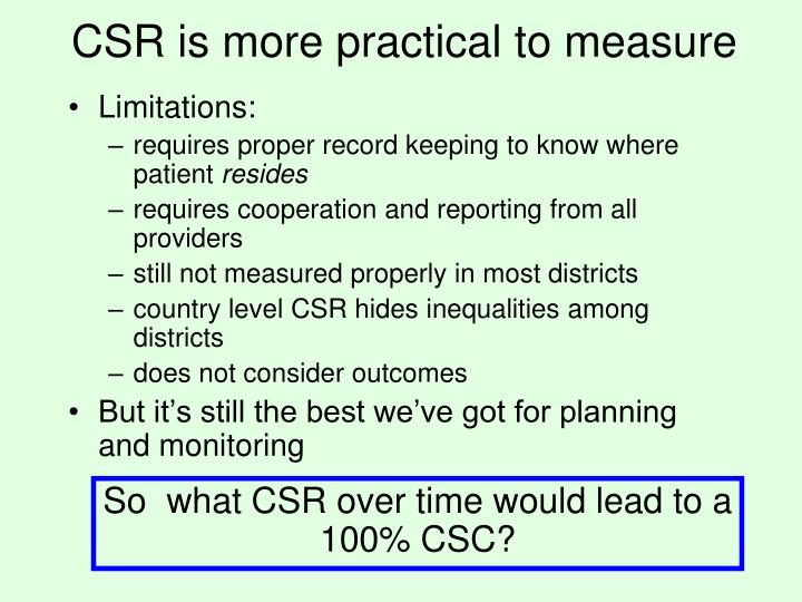 CSR is more practical to measure