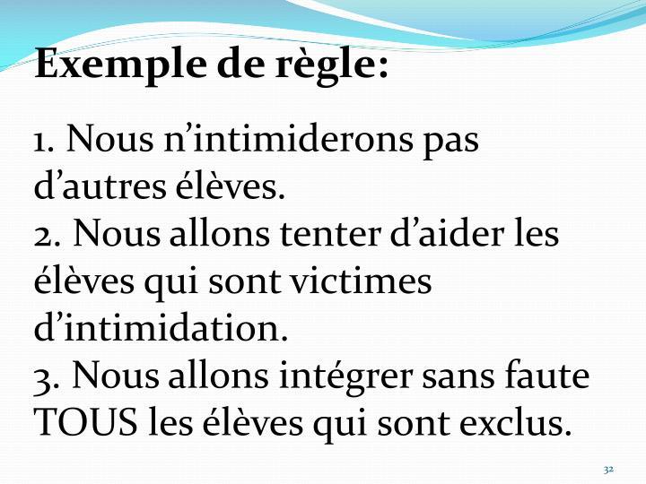 Exemple de règle: