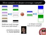 more samples or deeper coverage sample