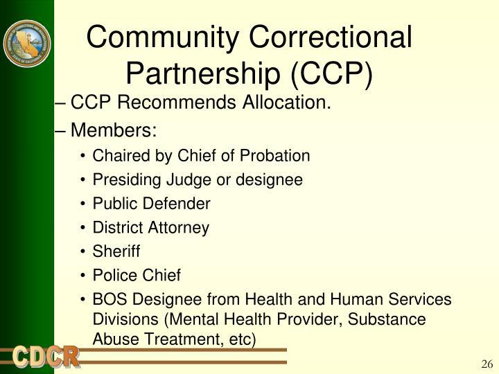 Community Correctional Partnership (CCP)