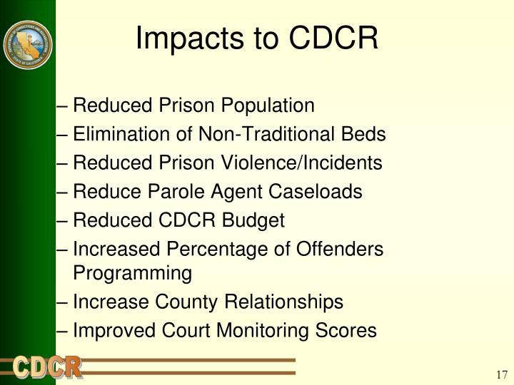 Impacts to CDCR