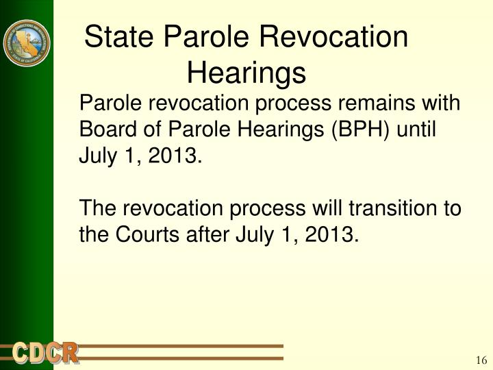 State Parole Revocation Hearings