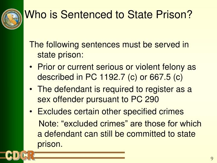 Who is Sentenced to State Prison?
