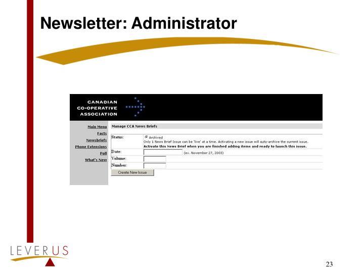 Newsletter: Administrator