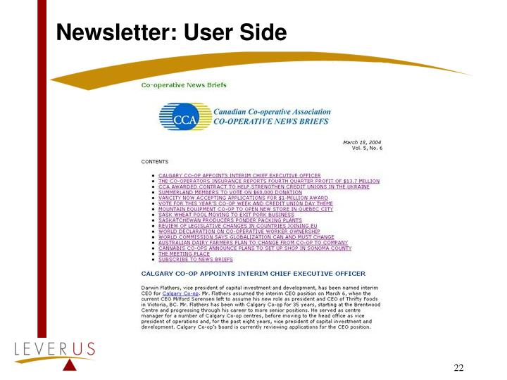 Newsletter: User Side