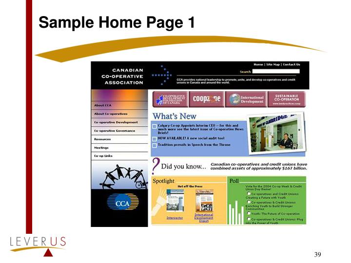 Sample Home Page 1