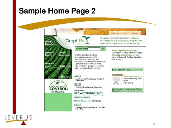Sample Home Page 2