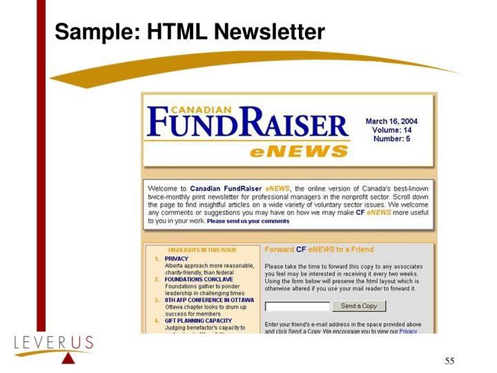 Sample: HTML Newsletter