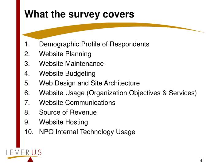 What the survey covers