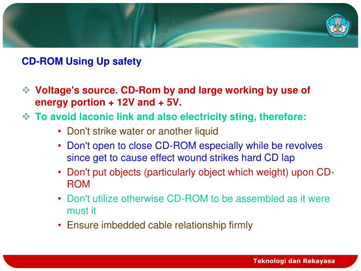 CD-ROM Using Up safety
